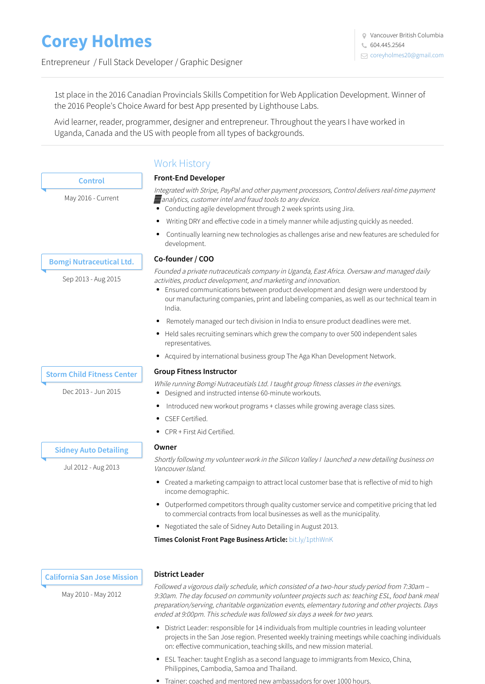 Co Founder + Chief Administrative Officer Resume Sample and Template