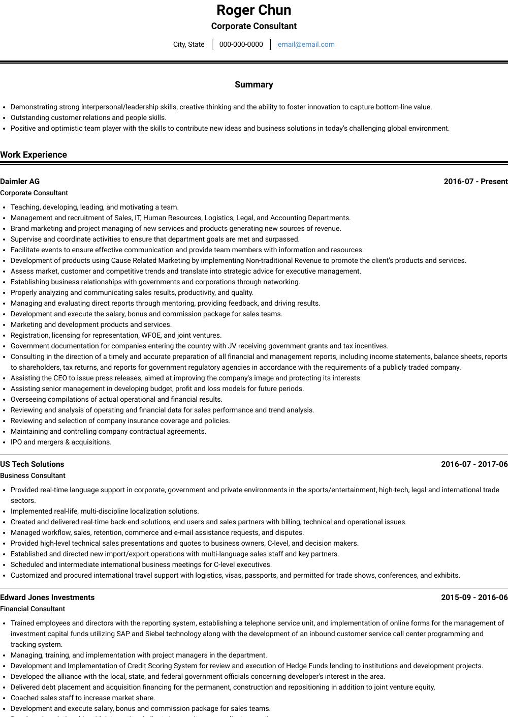 Corporate Consultant Resume Sample