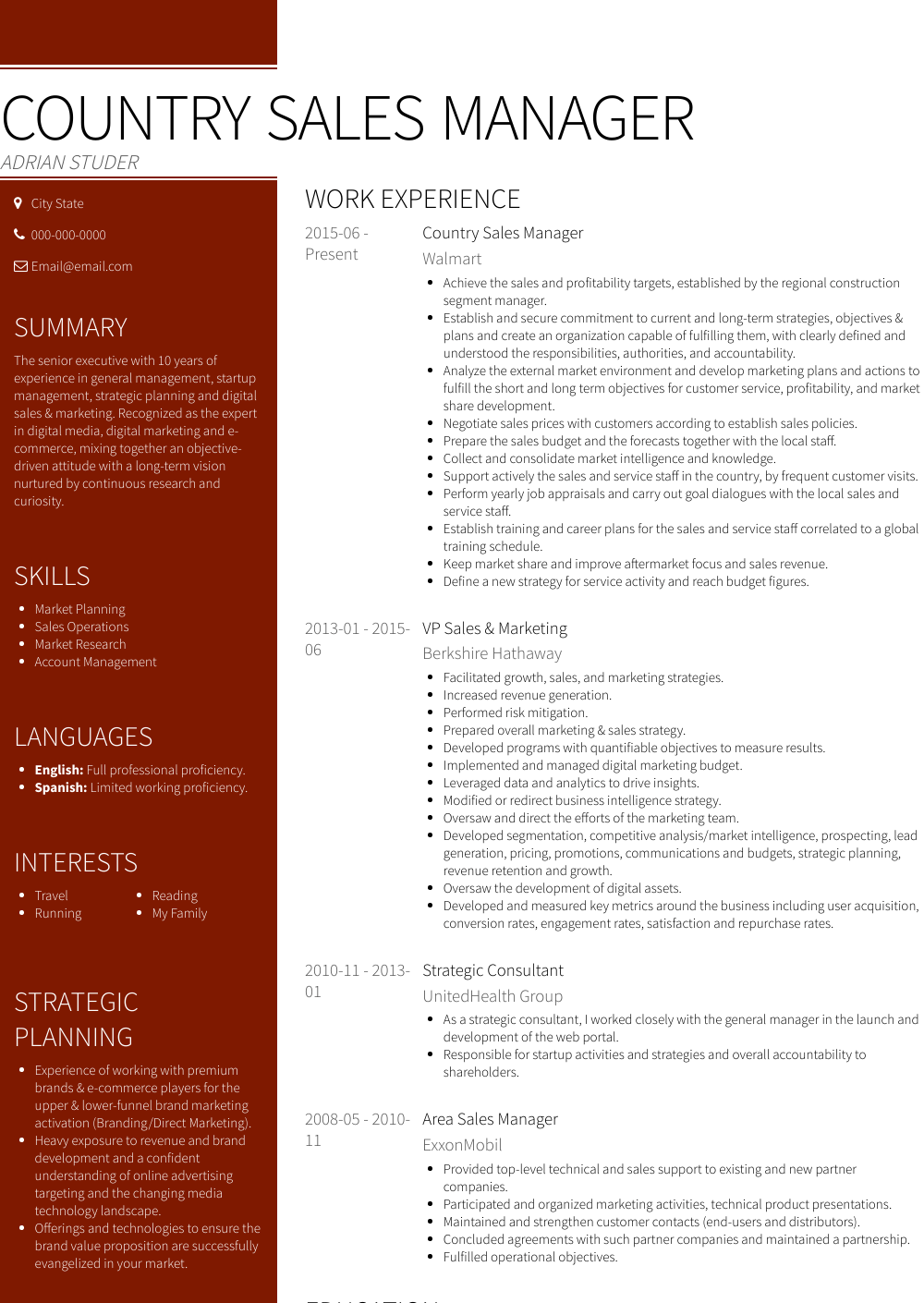 Country Manager Resume Samples And Templates Visualcv