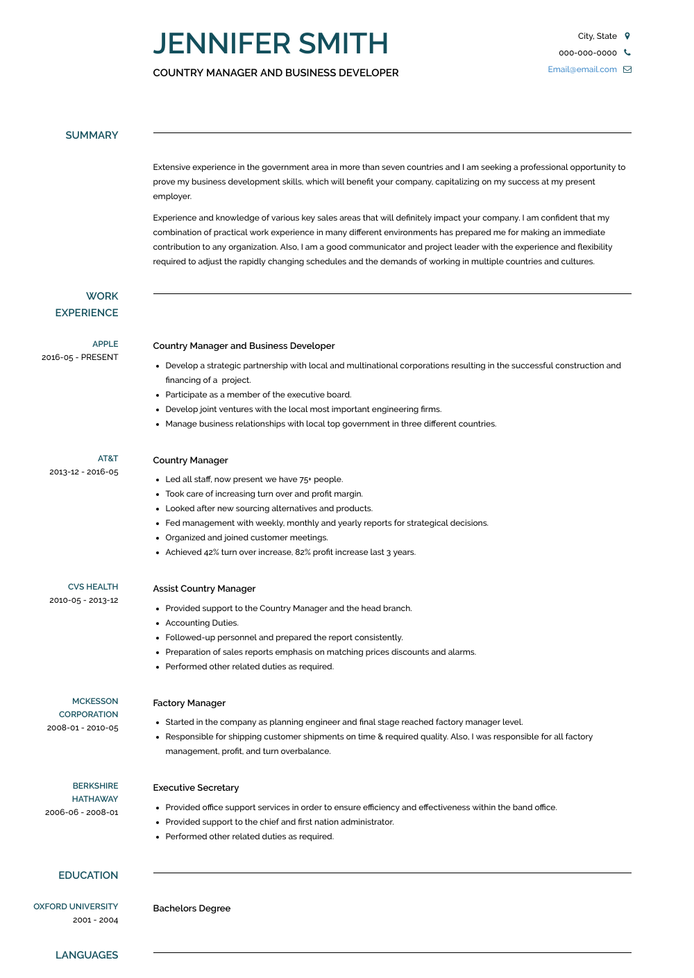 Country Manager And Business Developer Resume Sample and Template