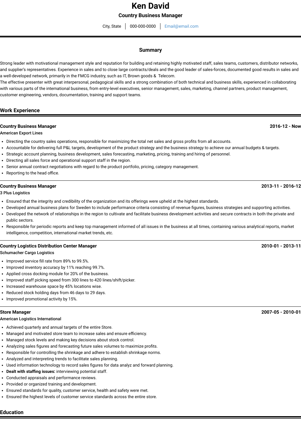Country Business Manager Resume Sample and Template