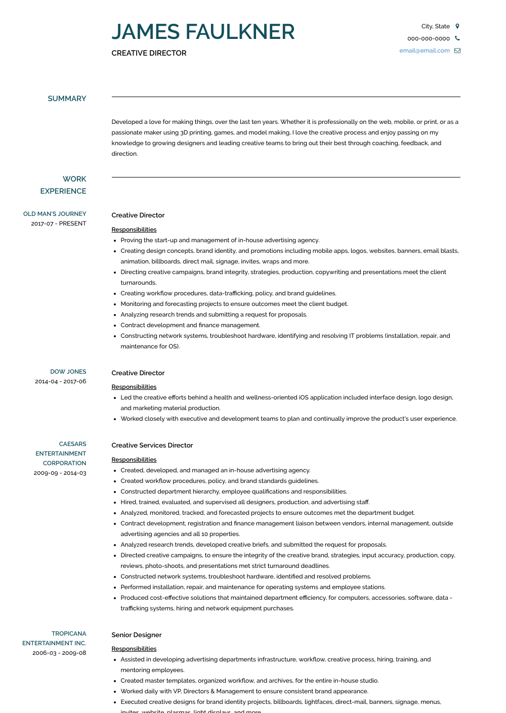 Creative Director  Resume Samples and Templates   VisualCV