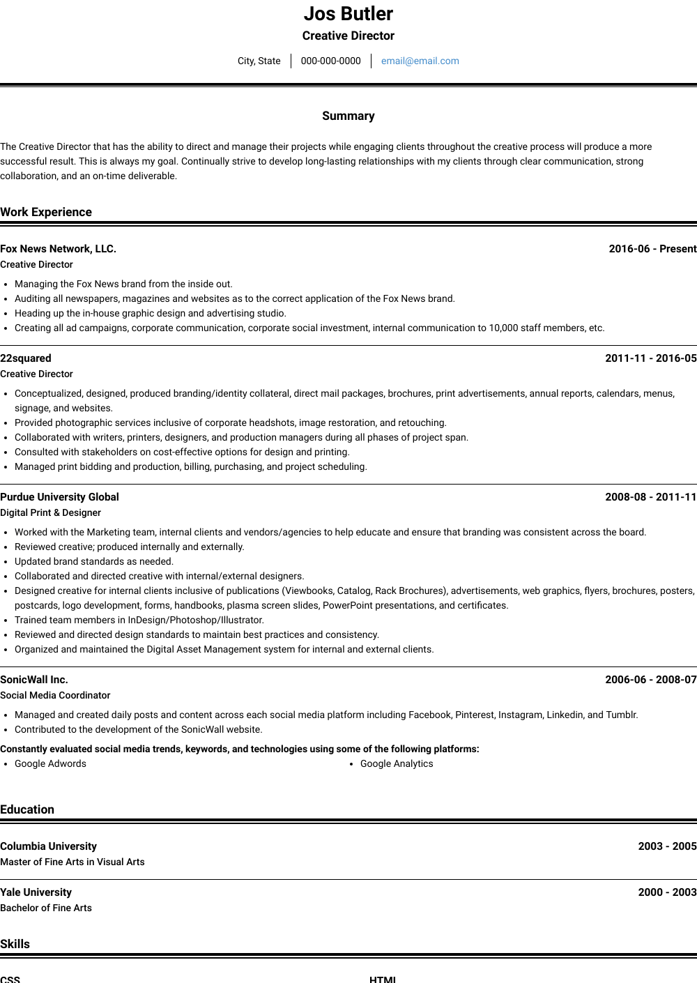 Creative Director Resume Sample and Template