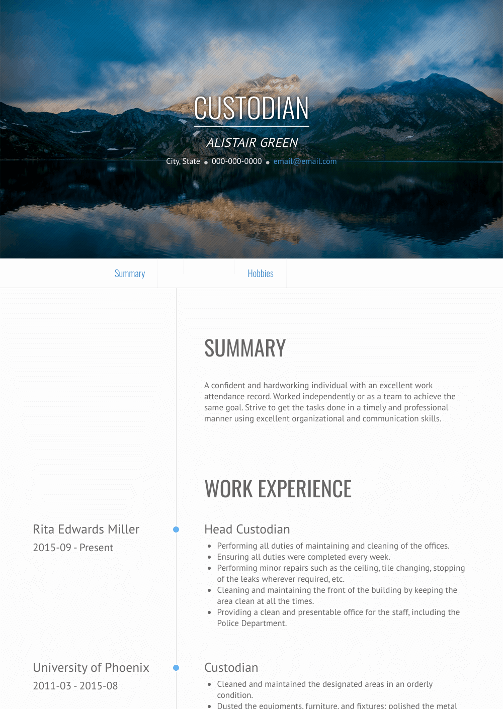 Custodian Resume Sample and Template