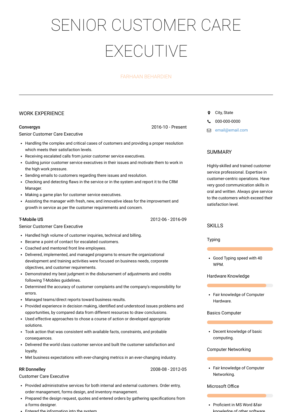resume format for customer service executive ...