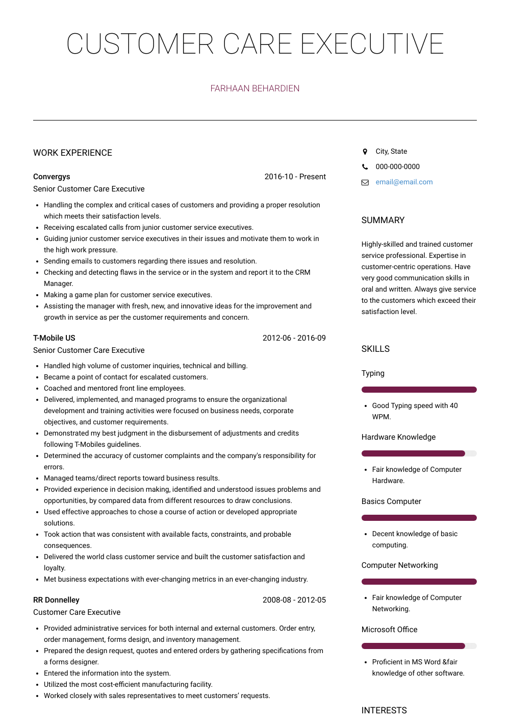 Customer Service – Cashier Resume Sample and Template