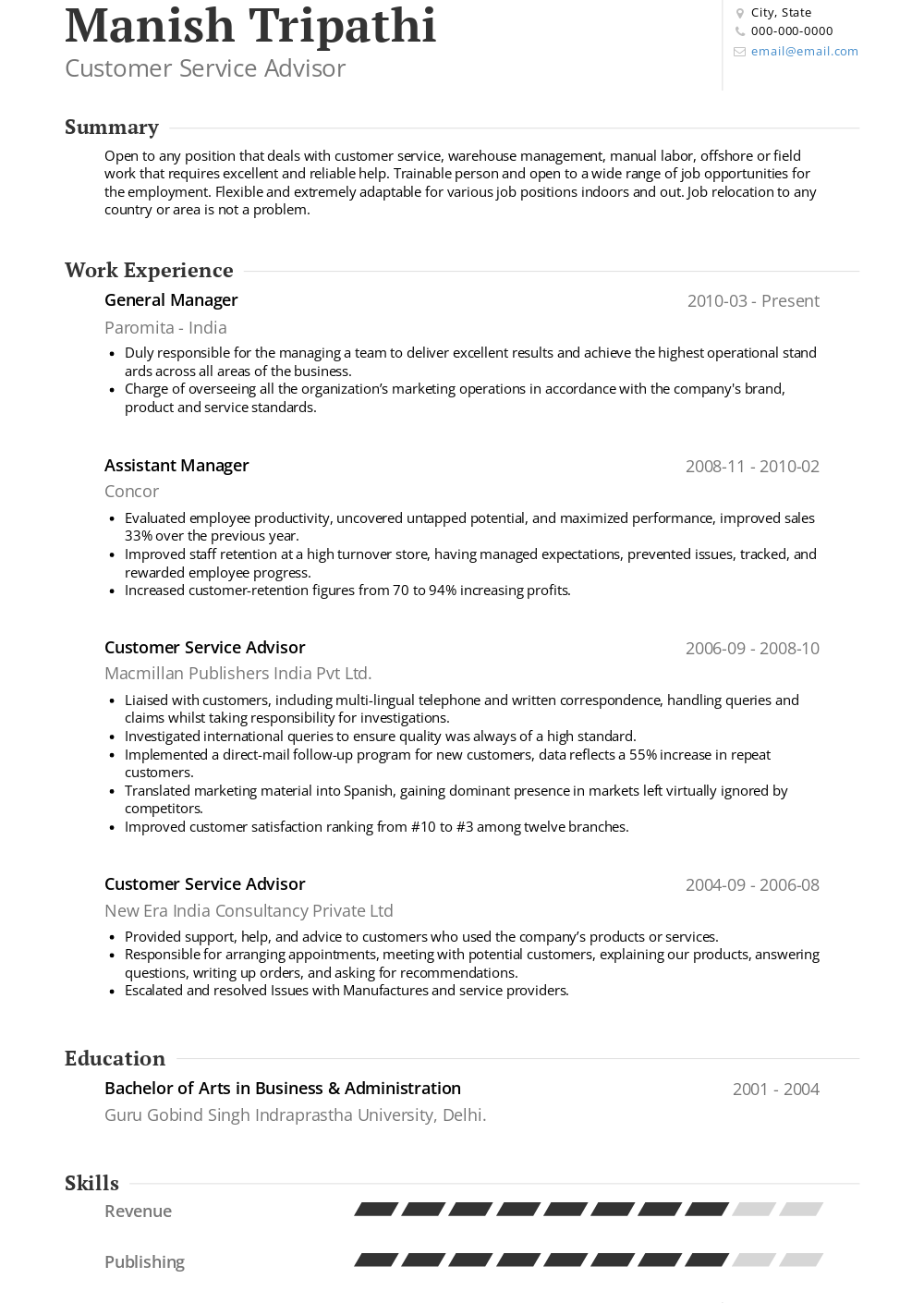 Customer Service Resume Samples Templates Visualcv