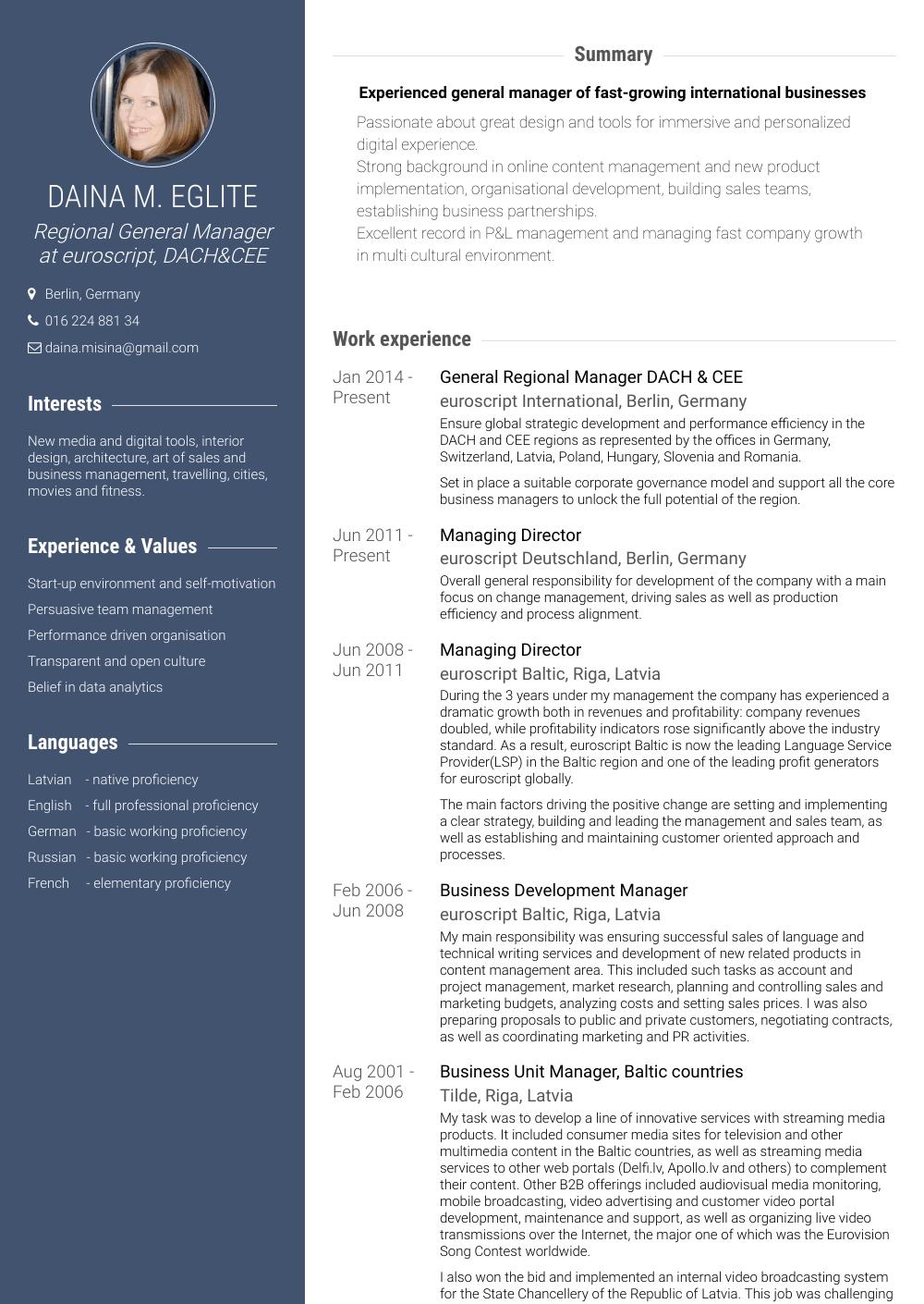 Regional Manager - Resume Samples & Templates | VisualCV