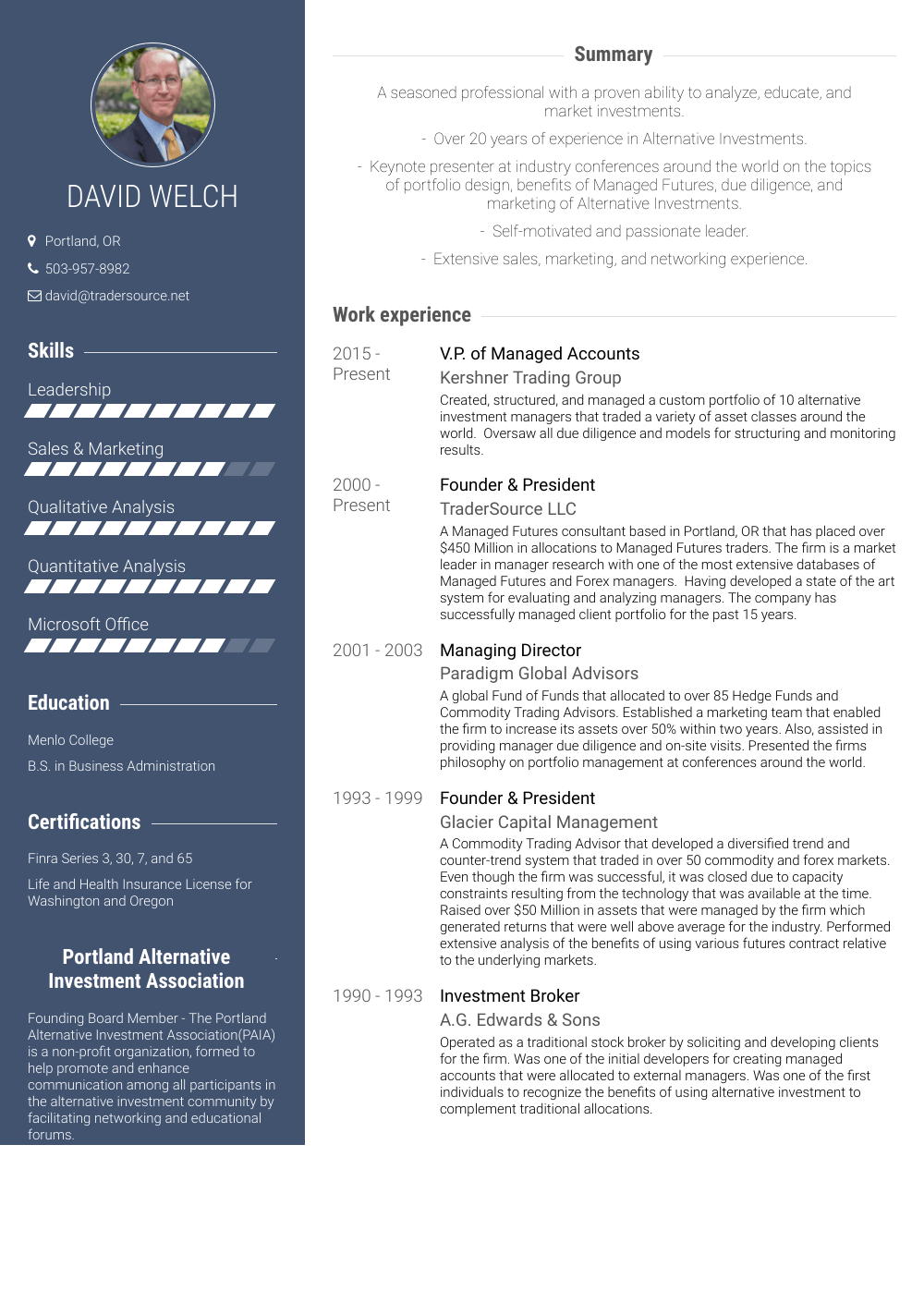 Founder & President - Resume Samples & Templates | VisualCV