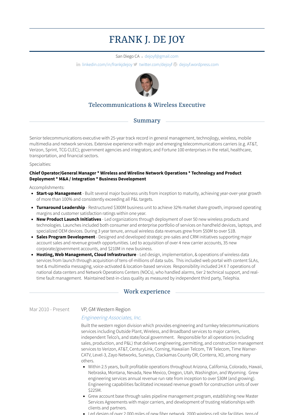 Gm Resume Sample