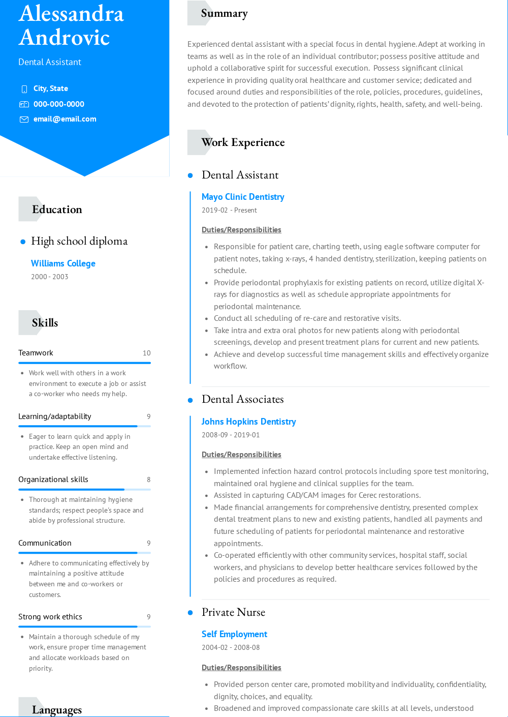 dental assistant  resume samples and templates  visualcv