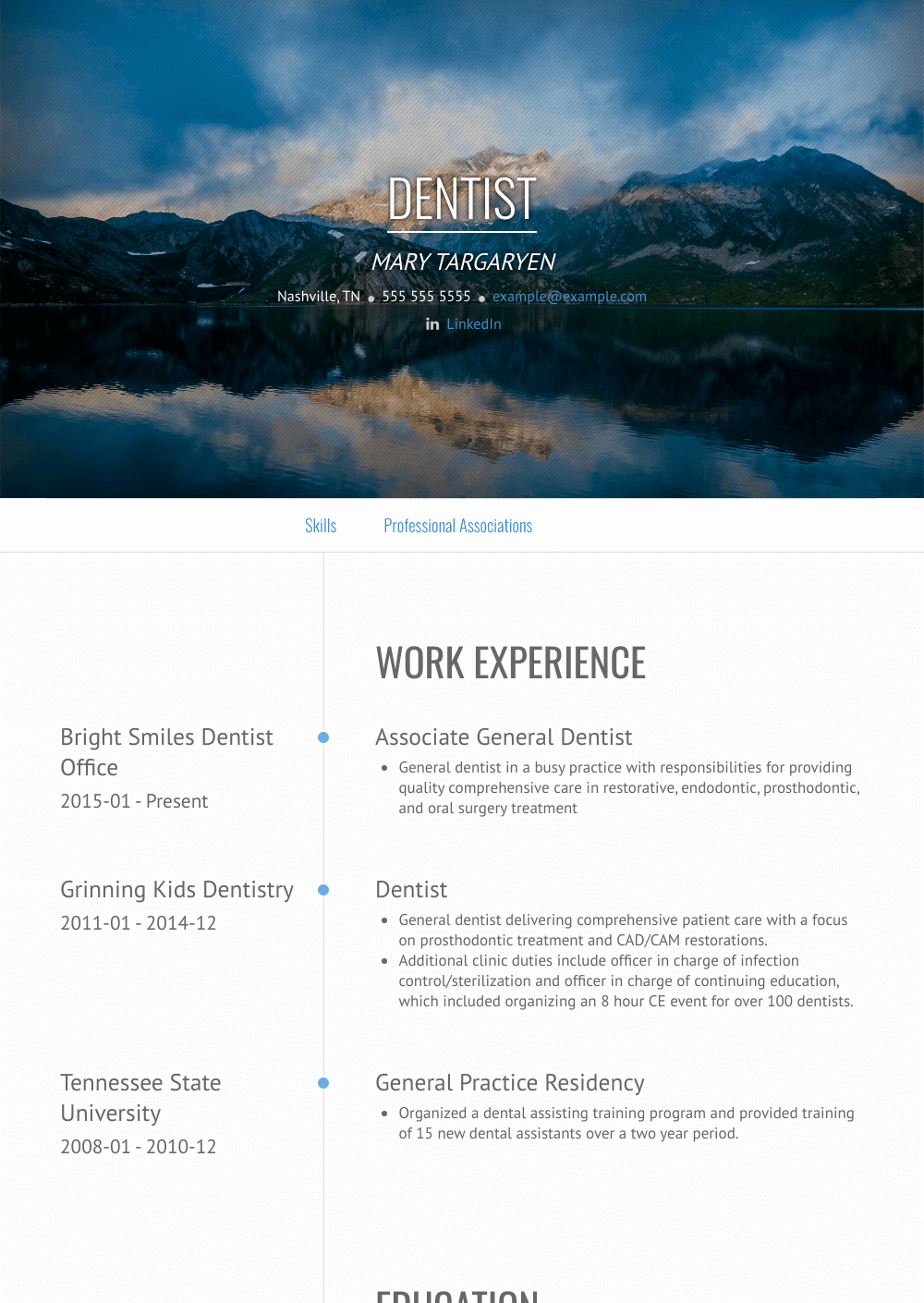 Dentist Resume Sample and Template