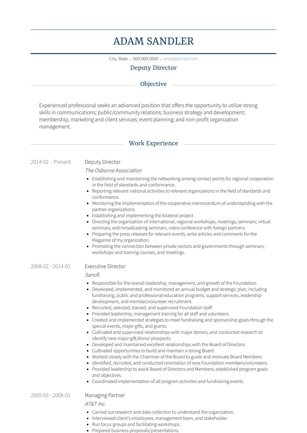deputy director  resume samples and templates  visualcv