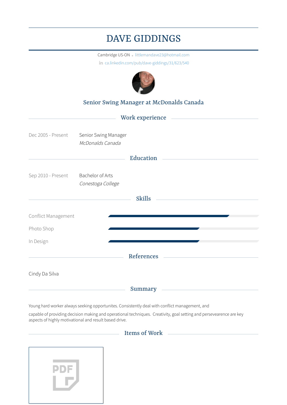 Swing Manager Resume Sample