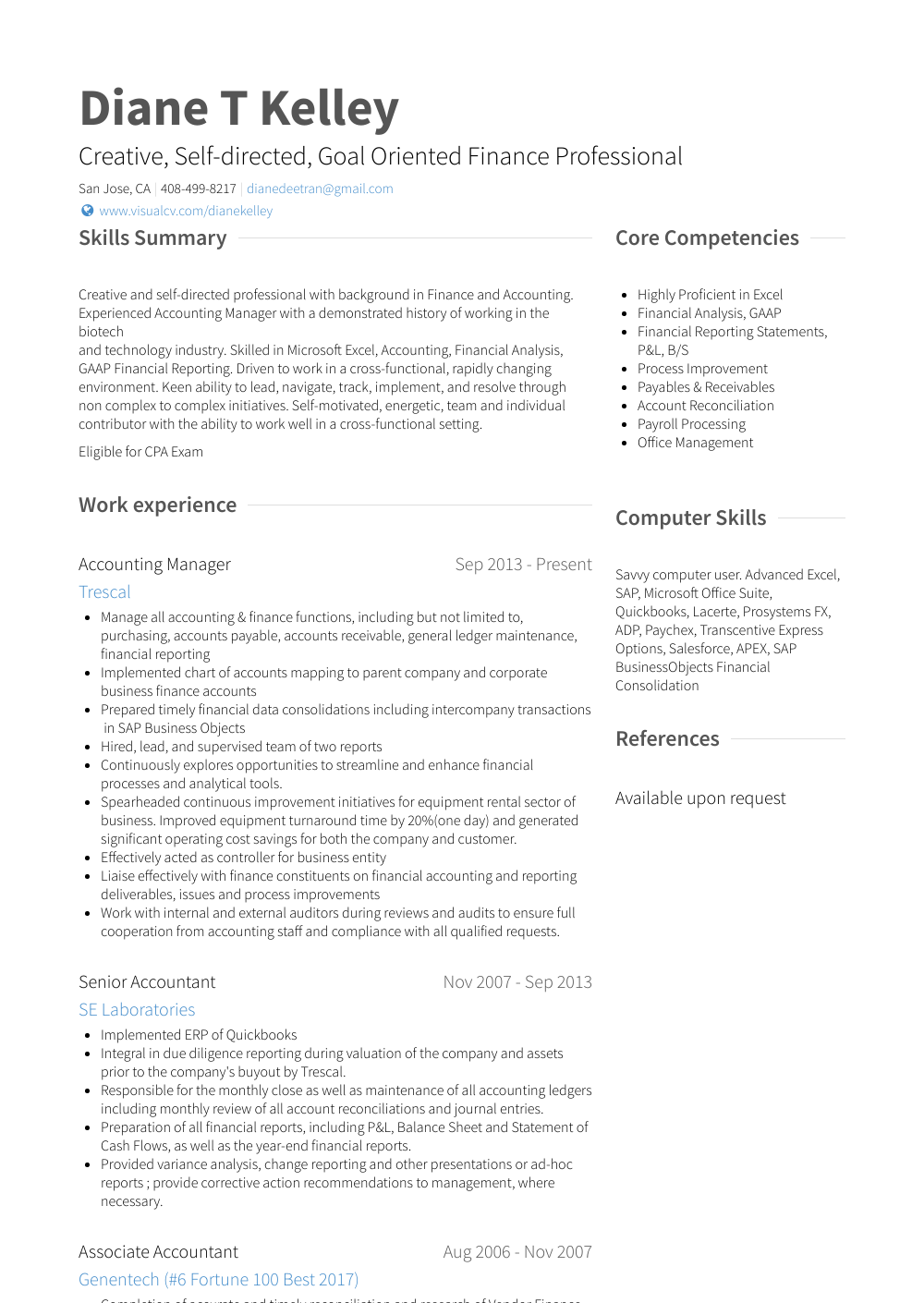 Accounting Manager Resume Samples And Templates Visualcv