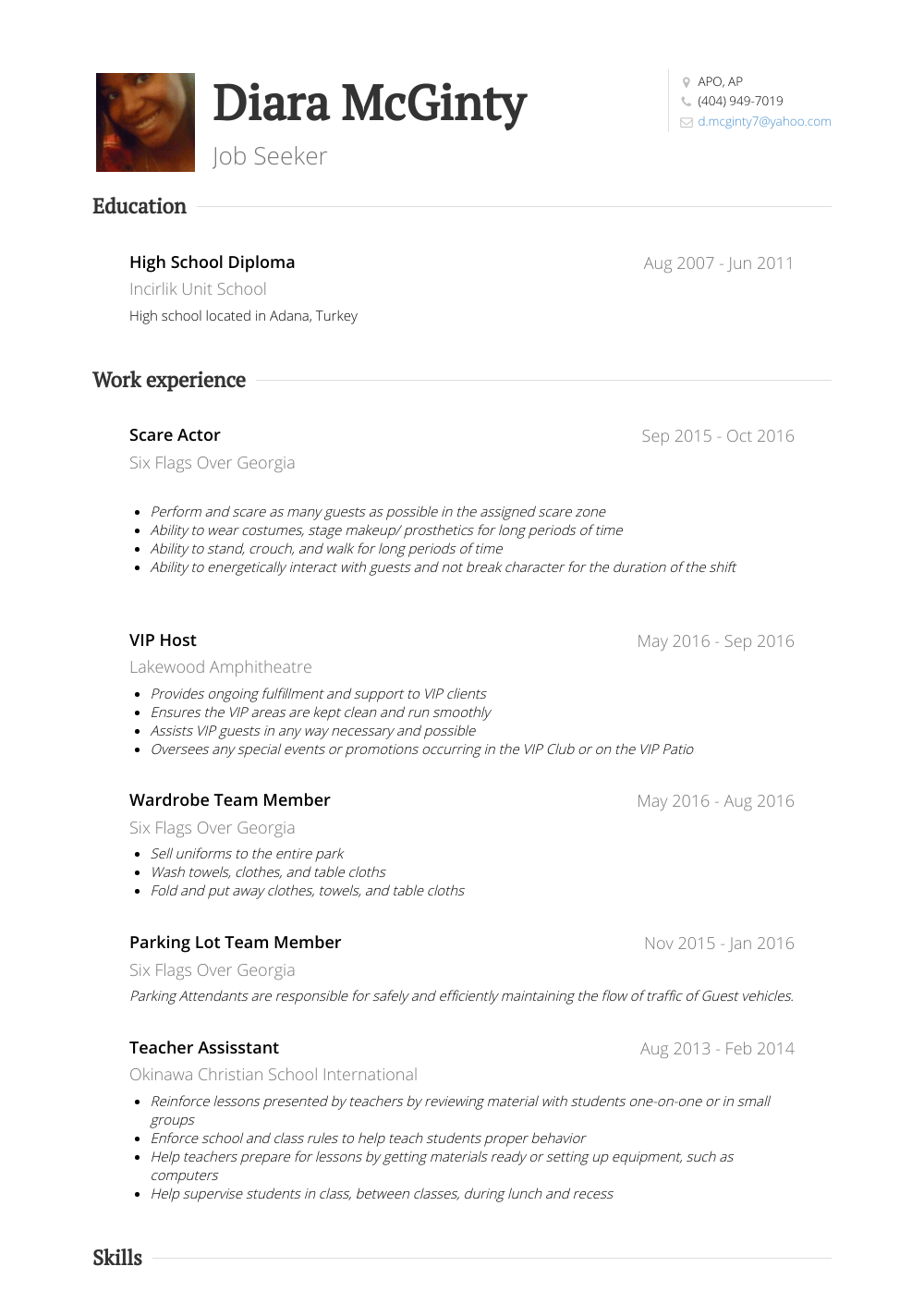 Hostess Resume Samples And Templates Visualcv