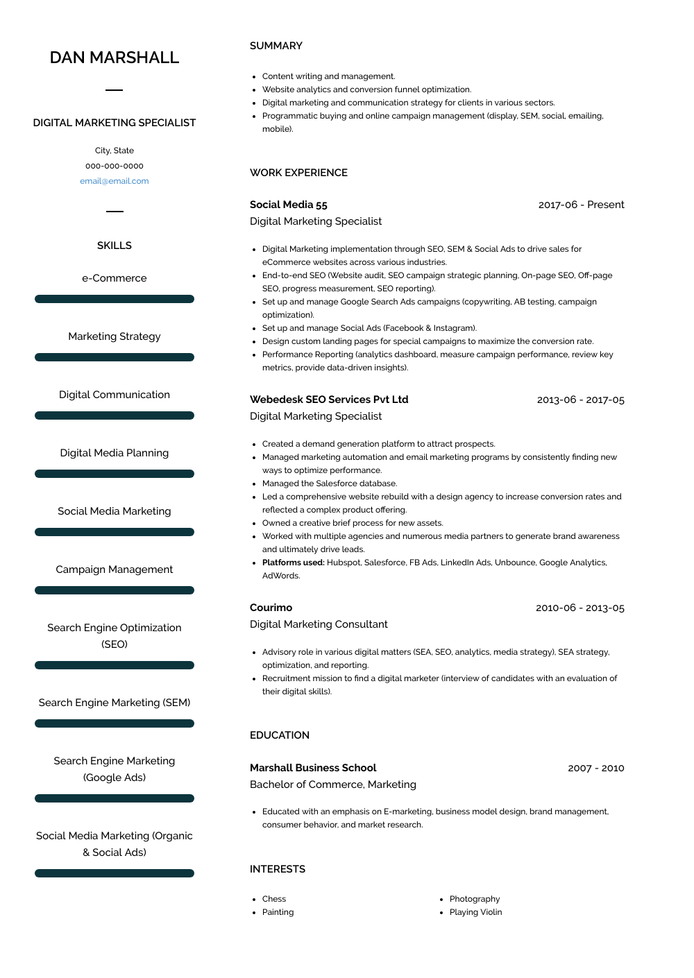 Free Real Professional Resume Samples Visualcv