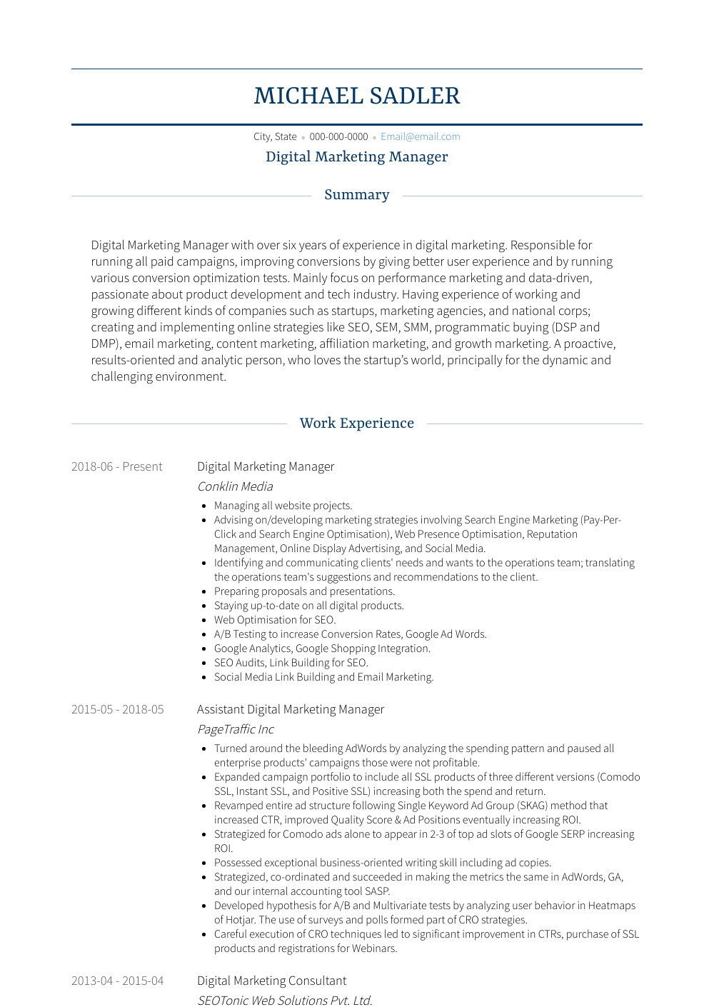 Digital Marketing Manager Resume Sample and Template