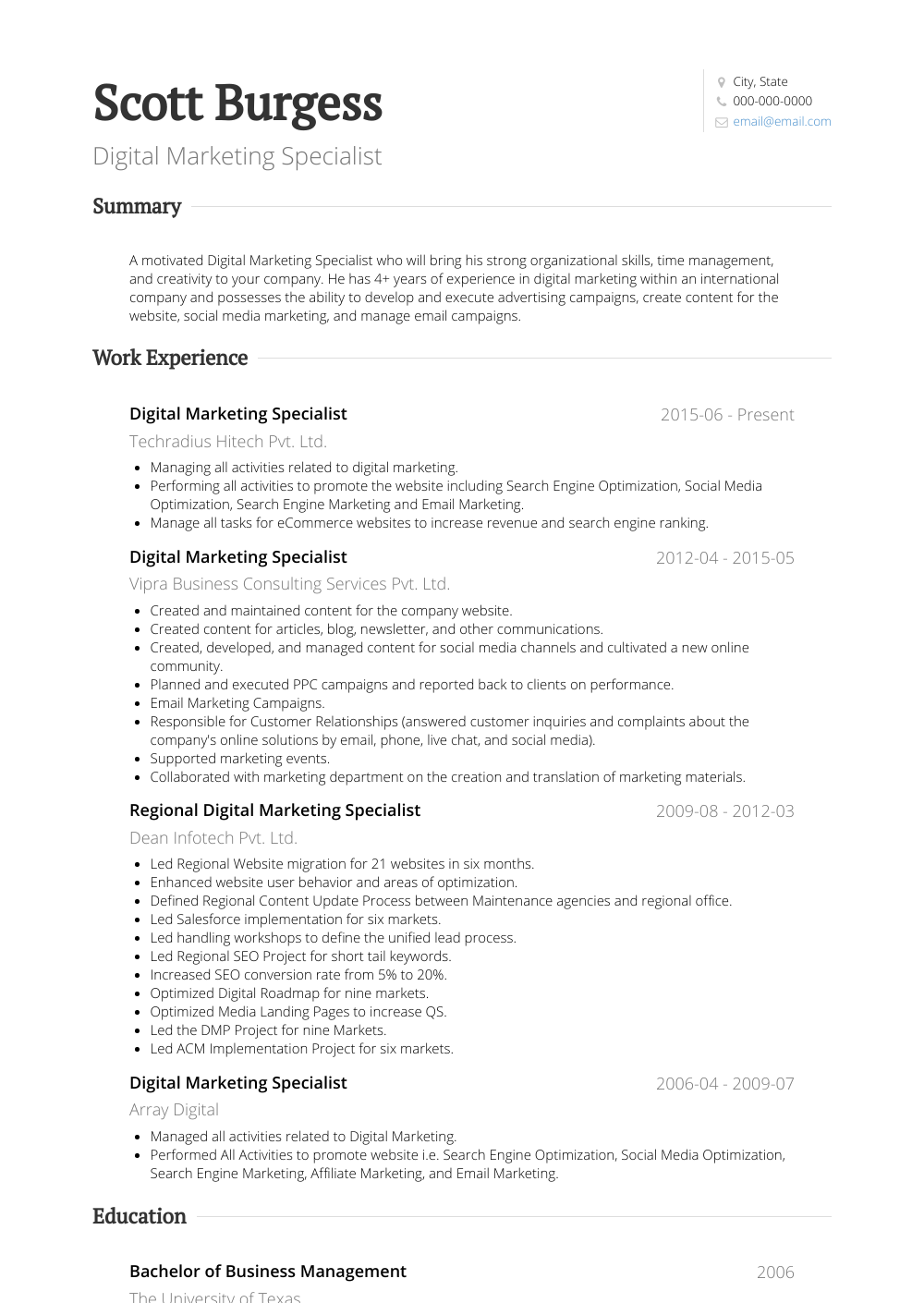 Digital Marketing Resume Sample and Template