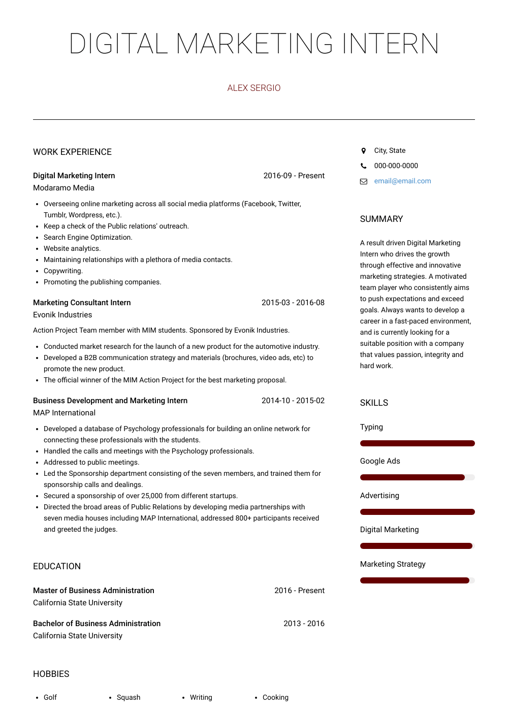 Digital Marketing Intern Resume Sample