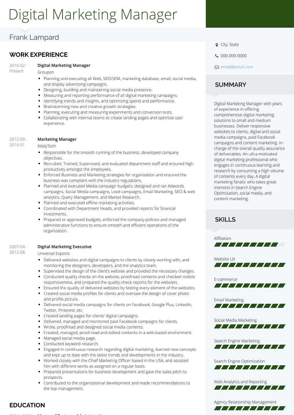 digital marketing manager  resume samples and templates