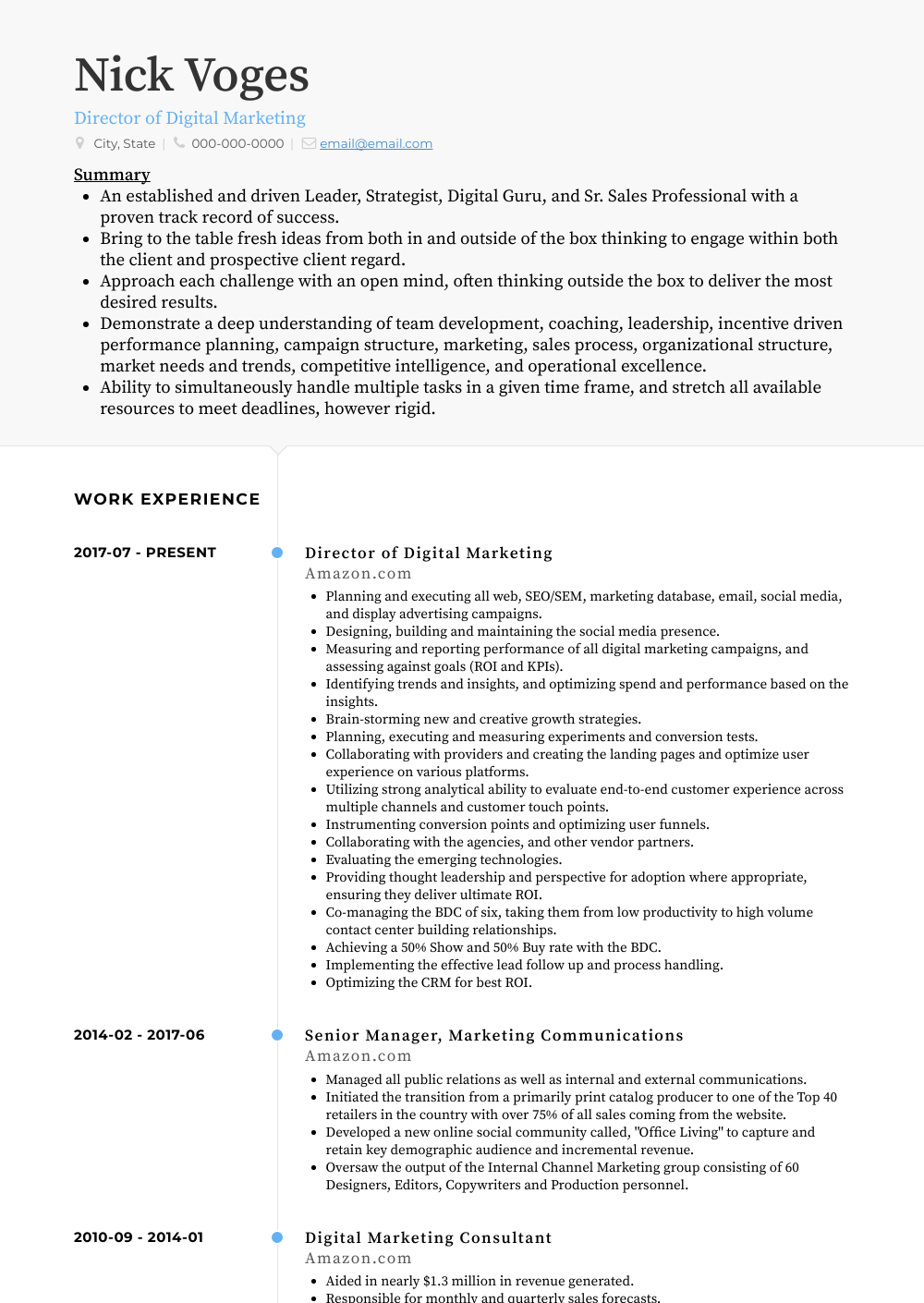 Director of Digital Marketing Resume Sample and Template