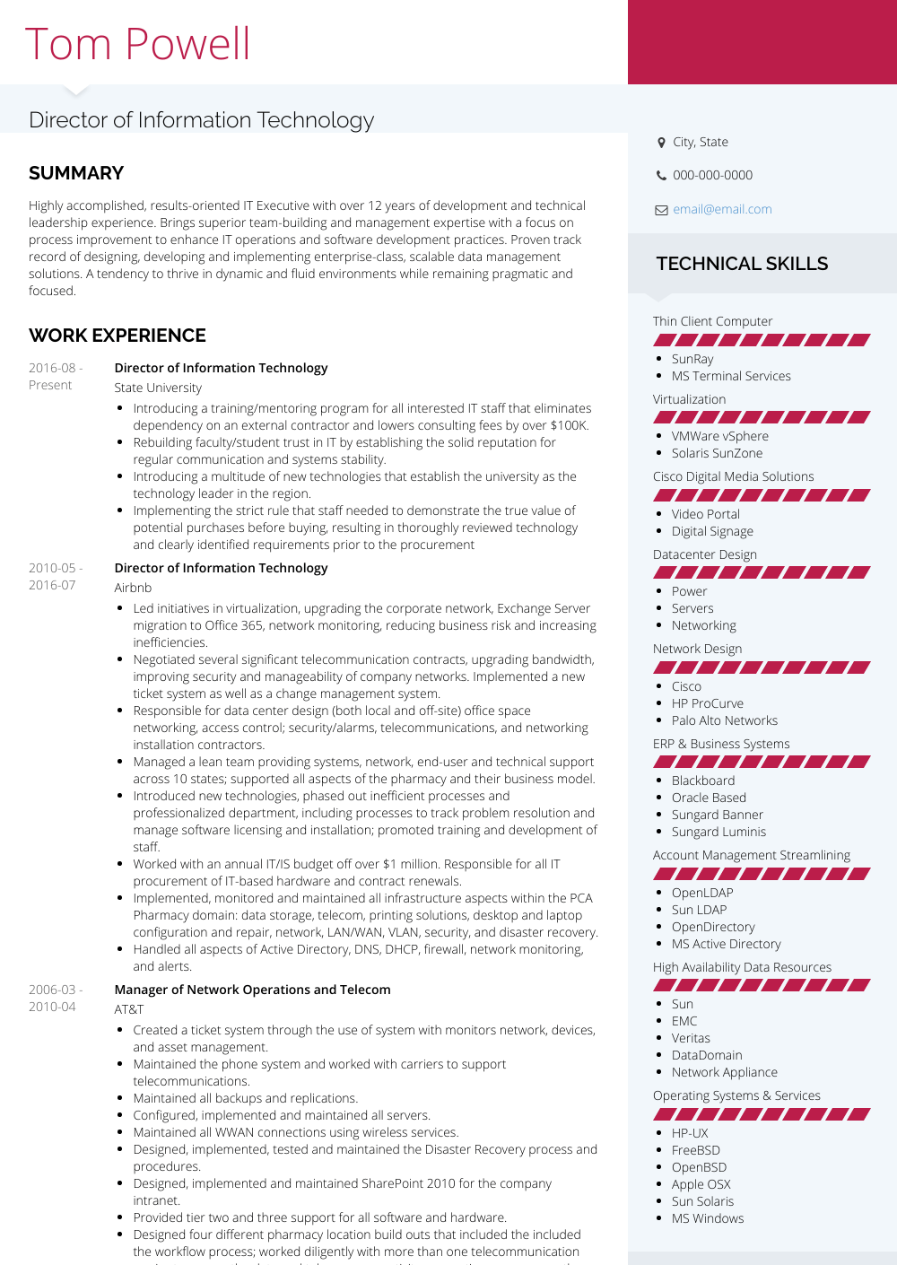 Chief Technology Officer Resume Sample
