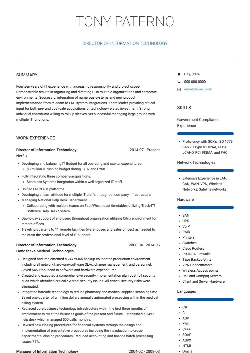 Great Technical Resume Examples 73