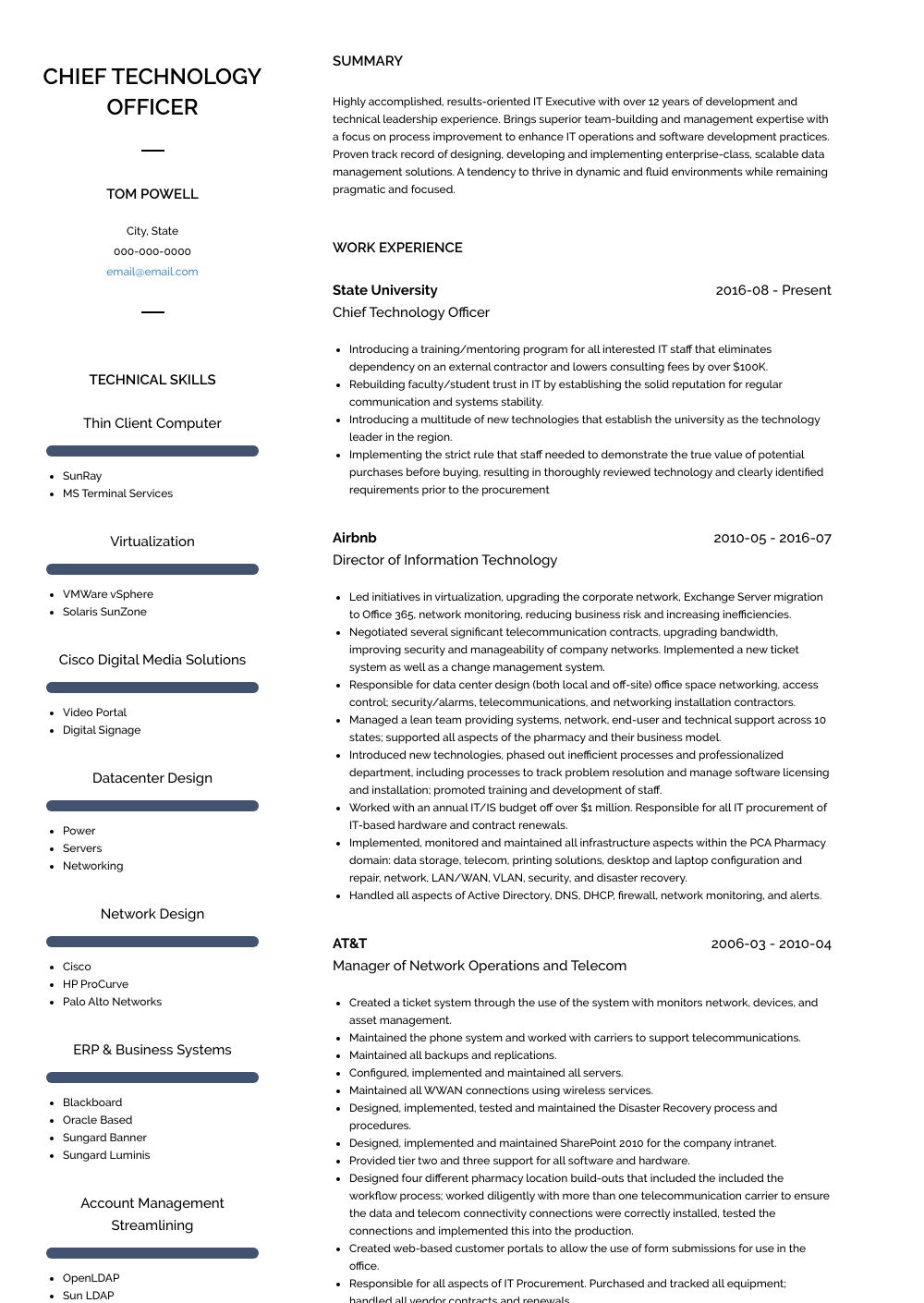 Director Of Information Technology Resume Sample and Template