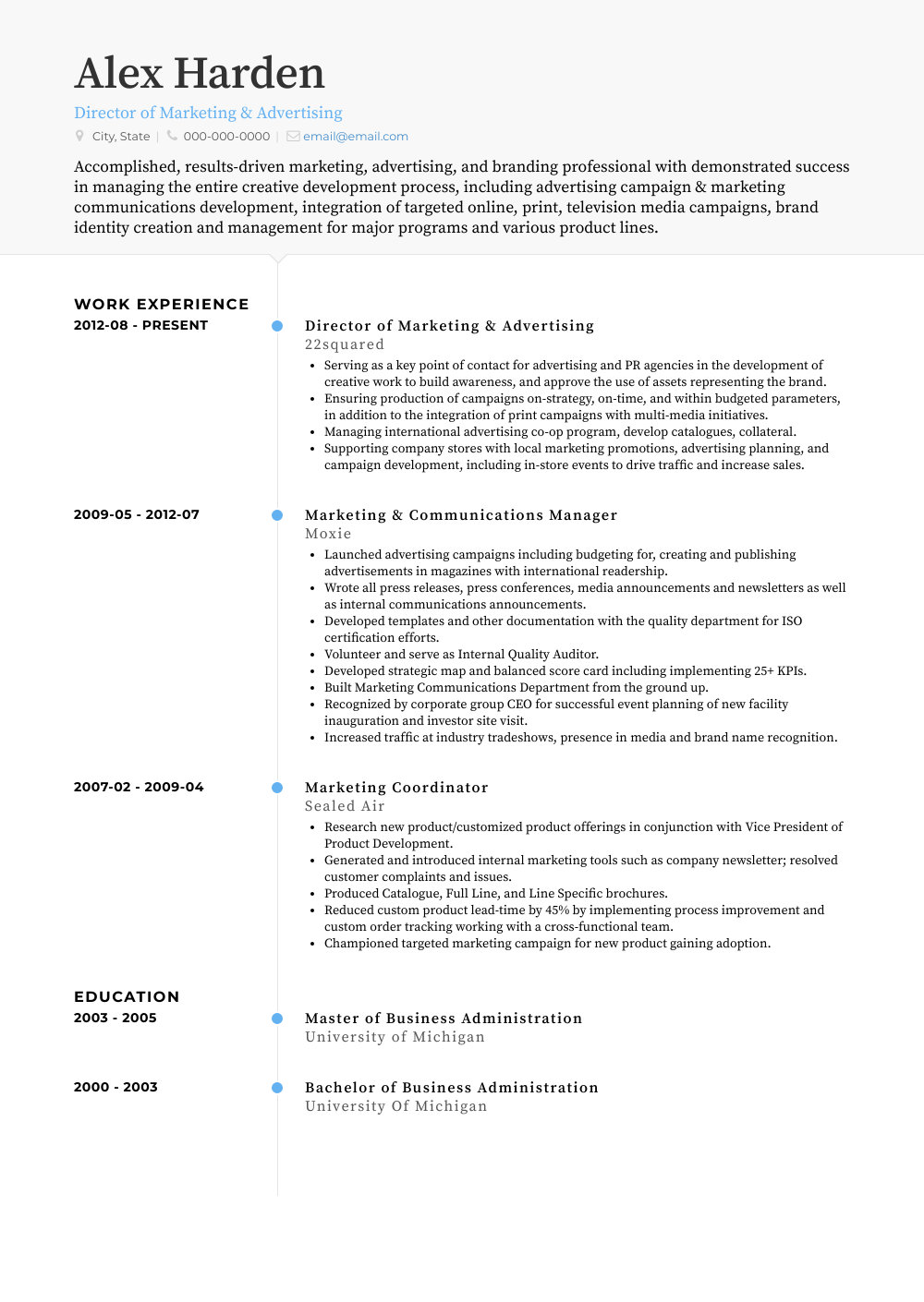 Director Of Marketing & Advertising Resume Sample and Template