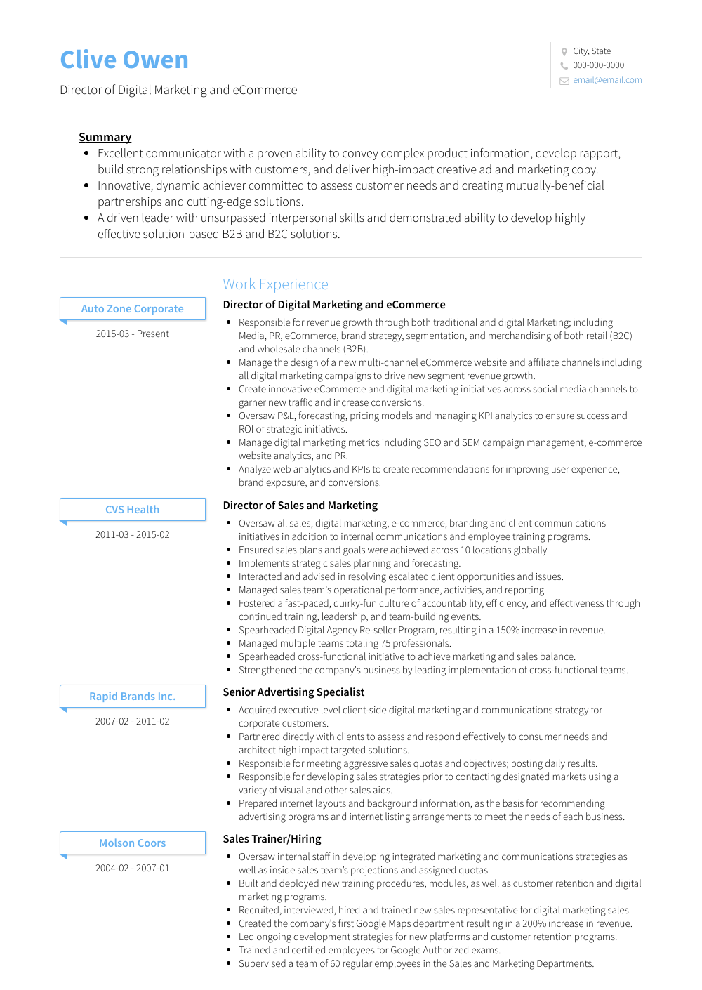 Director Of Digital Marketing And Ecommerce Resume Sample and Template