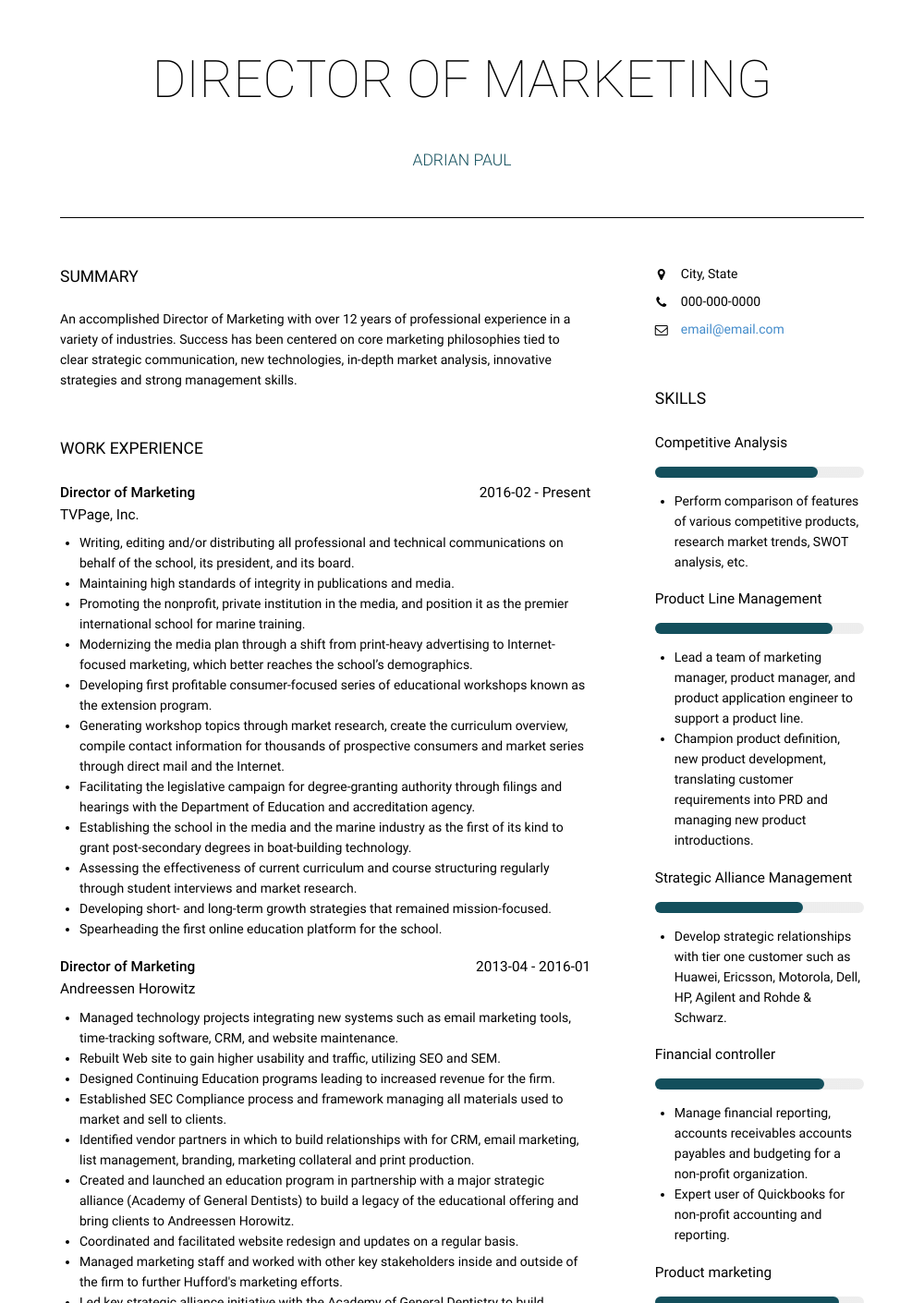 Director Of Marketing - Resume Samples and Templates | VisualCV