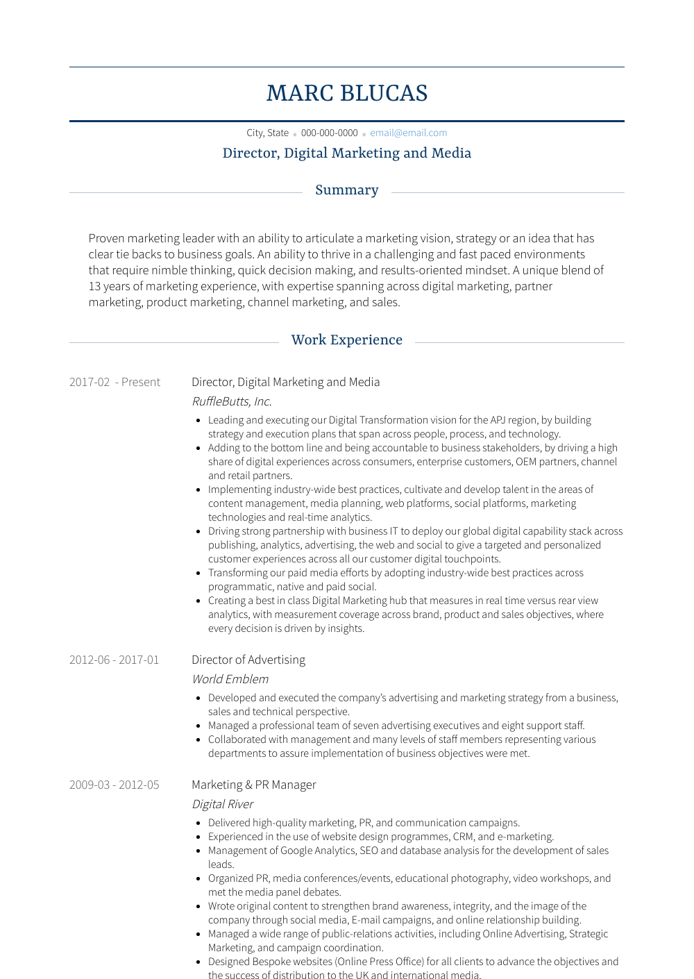 Director, Digital Marketing And Media Resume Sample and Template
