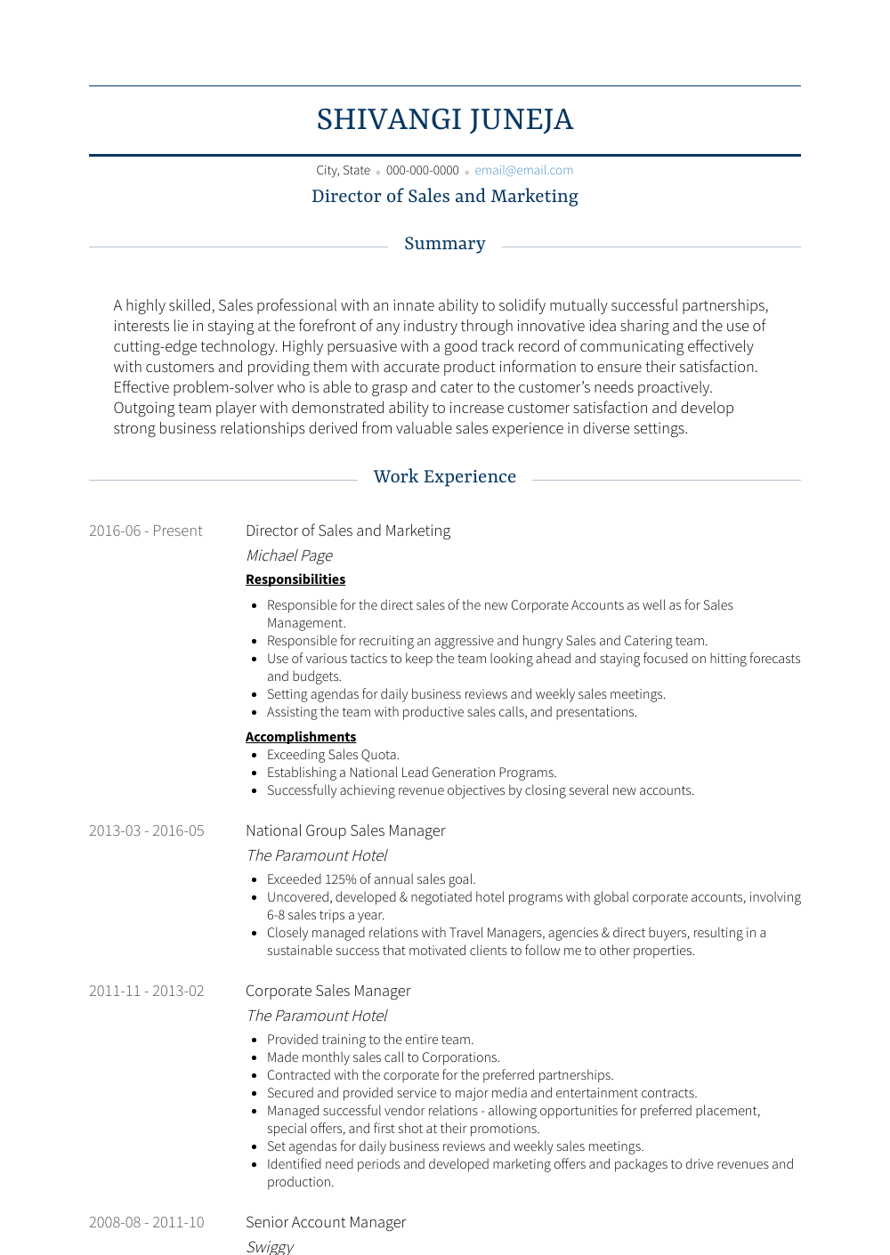 Director of Sales and Marketing Resume Sample and Template