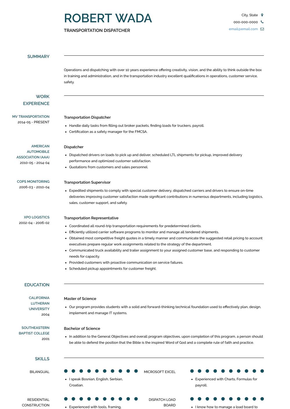 Transportation Dispatcher Resume Sample and Template