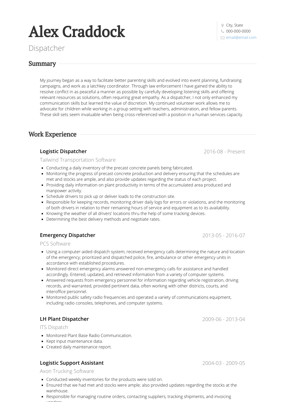 Dispatcher Resume Sample and Template