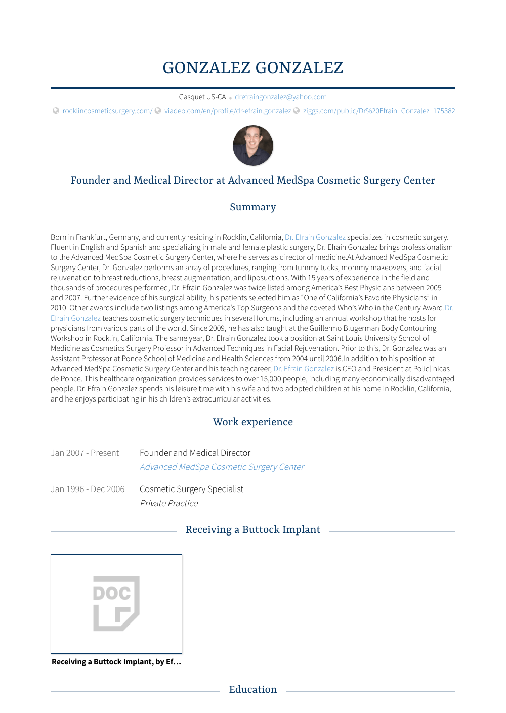 Founder And Medical Director Resume Sample