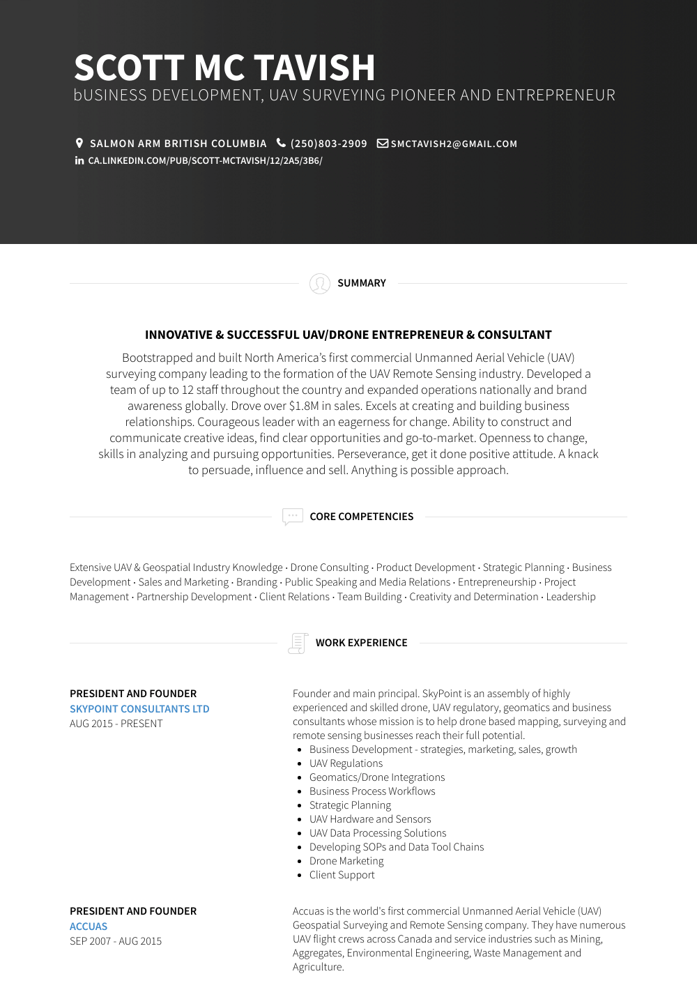 President And Founder  Resume