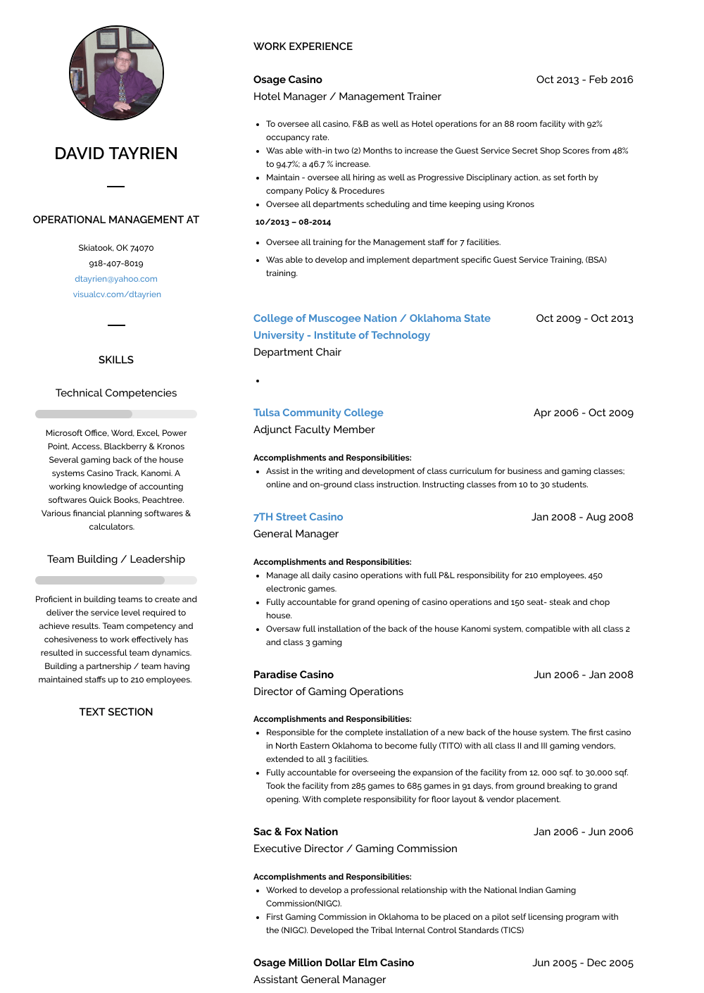 Assistant General Manager Resume Sample