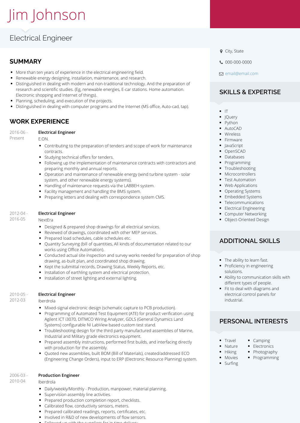 Electrical Engineer Resume Sample and Template