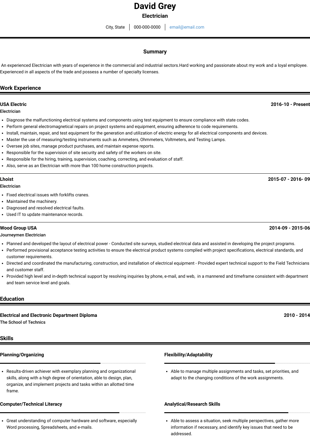 Electrician Resume Sample and Template