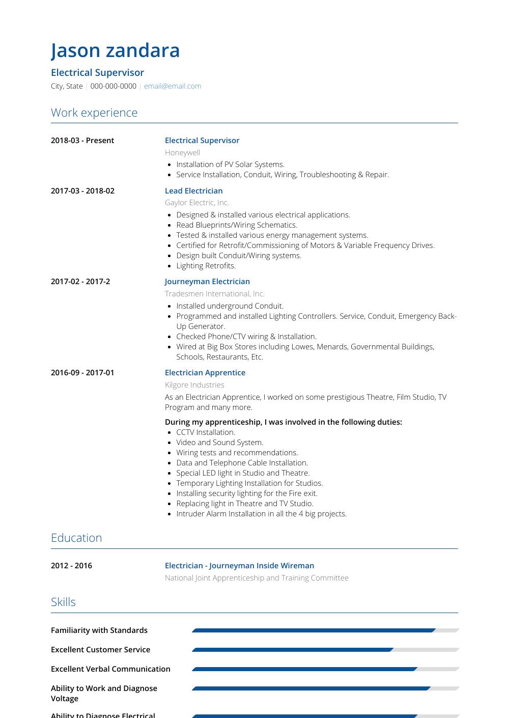 Electrician - Resume Samples & Templates | VisualCV