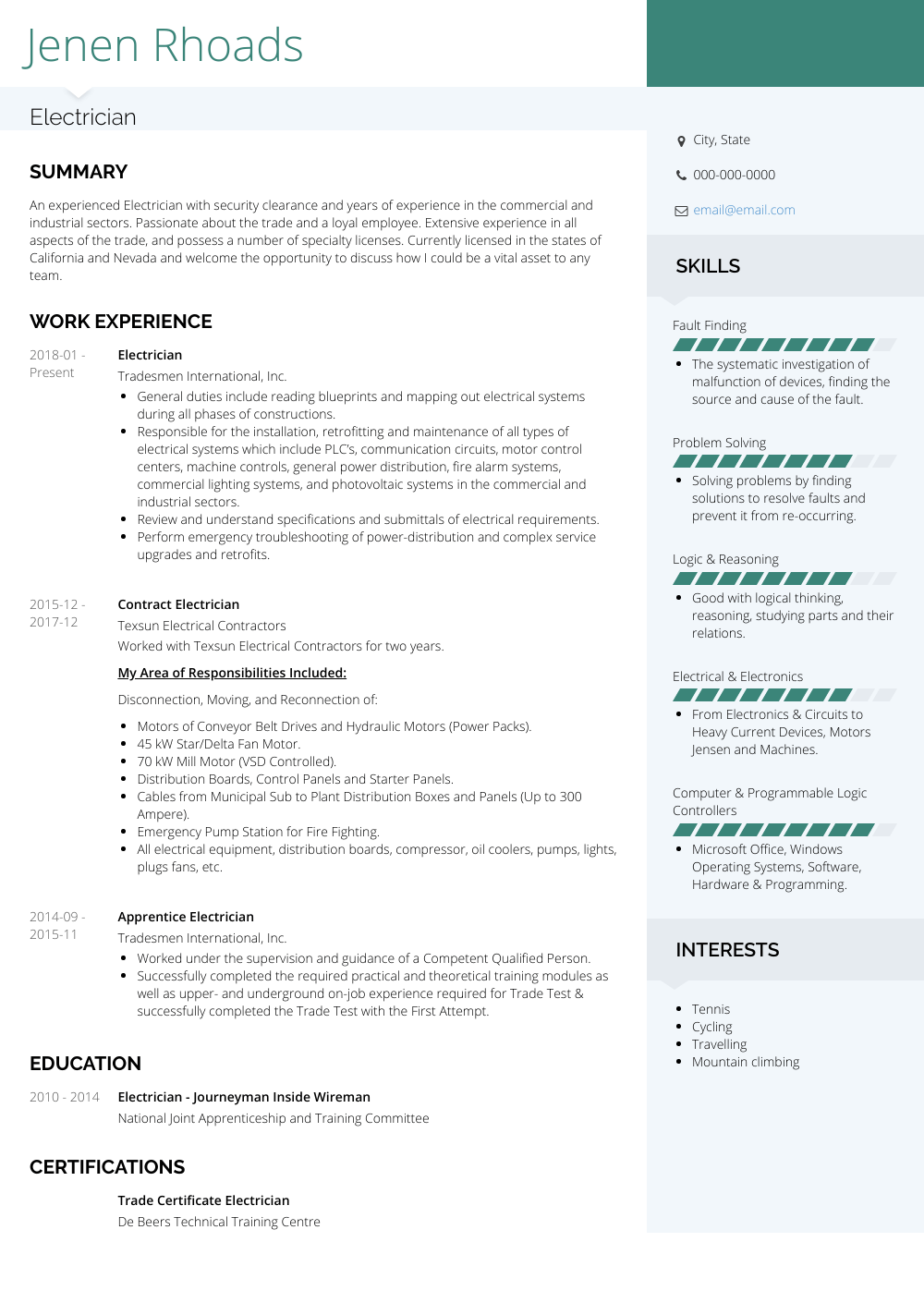 Electrician - Resume Samples and Templates | VisualCV