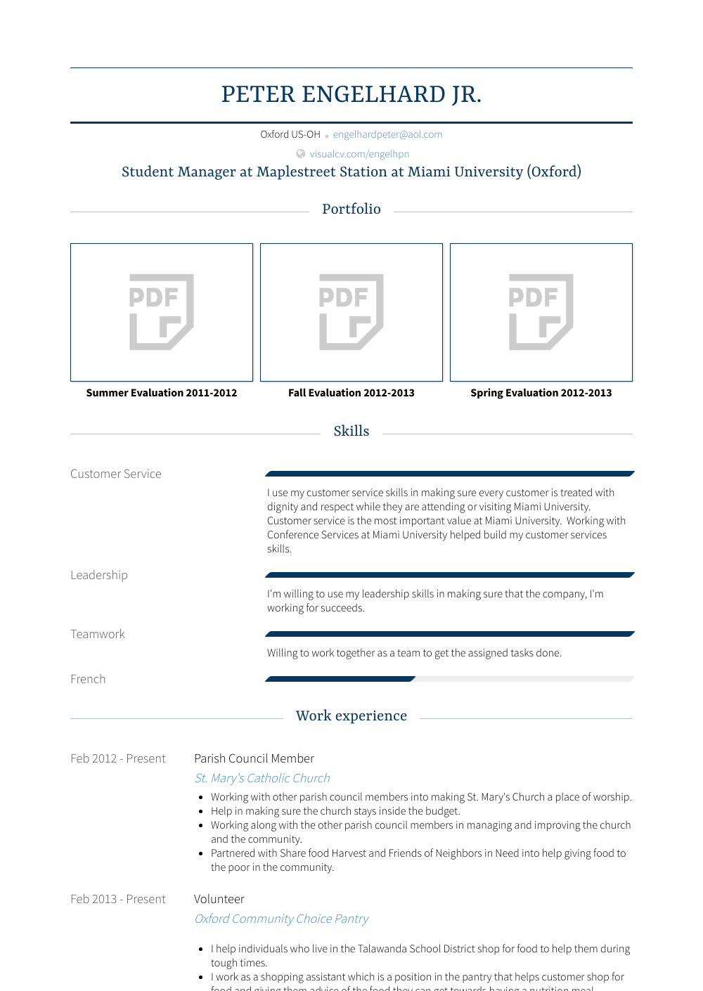 Student Manager Resume Sample