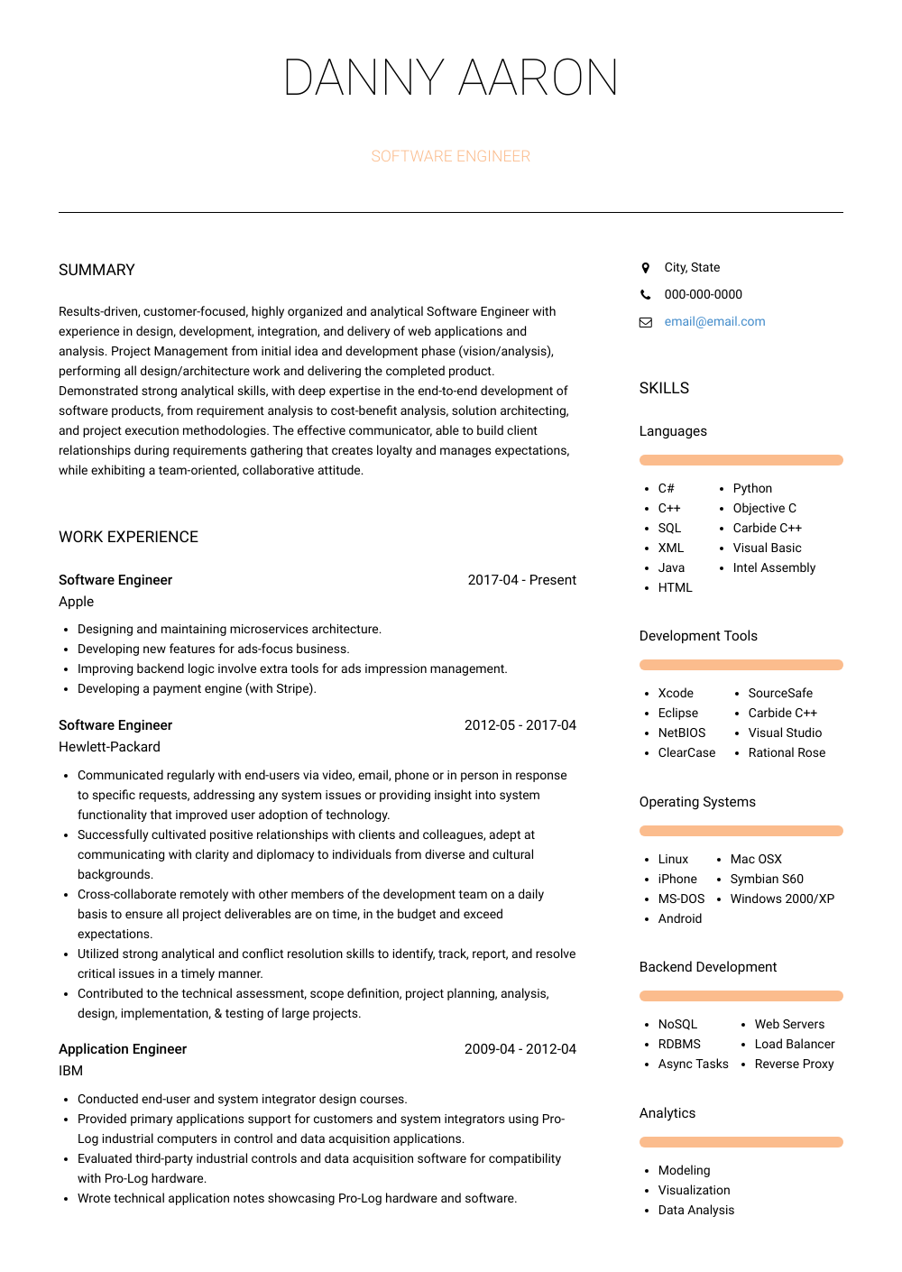 Software Engineer Resume Sample and Template