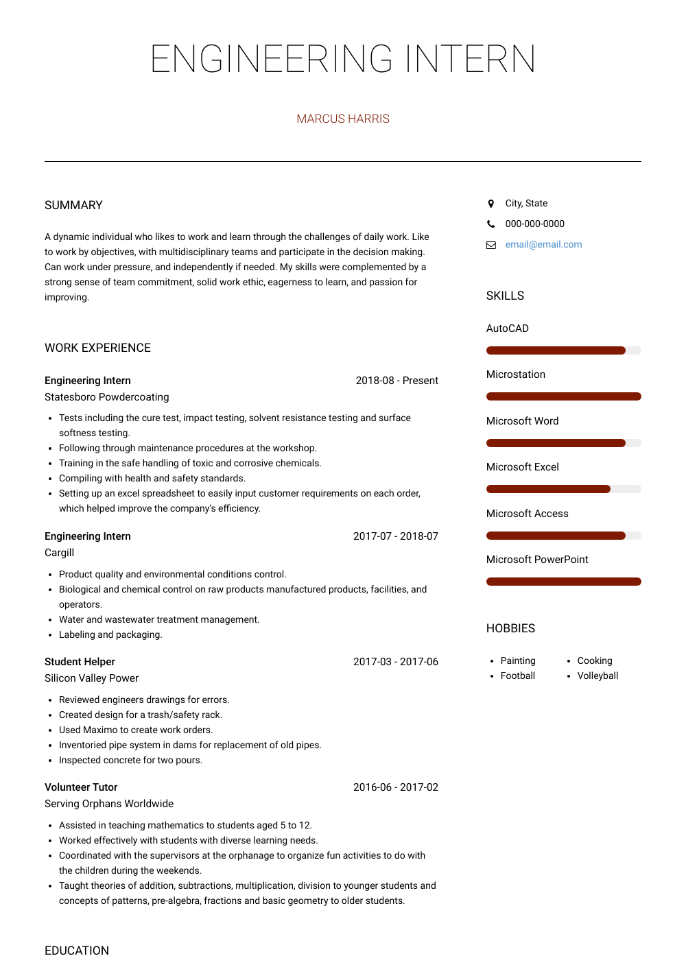 Engineering Intern Resume Sample and Template