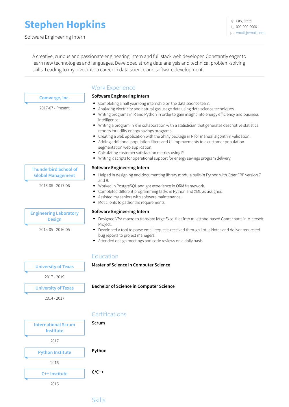 Software Engineering Intern Resume Sample and Template