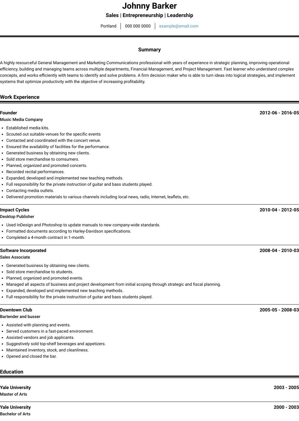 Entrepreneur Resume Sample and Template