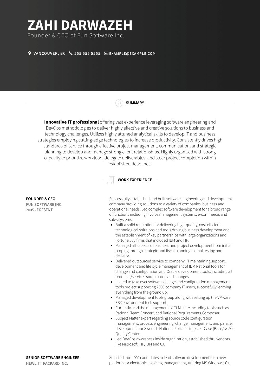 Entrepreneur Resume Samples Templates Visualcv