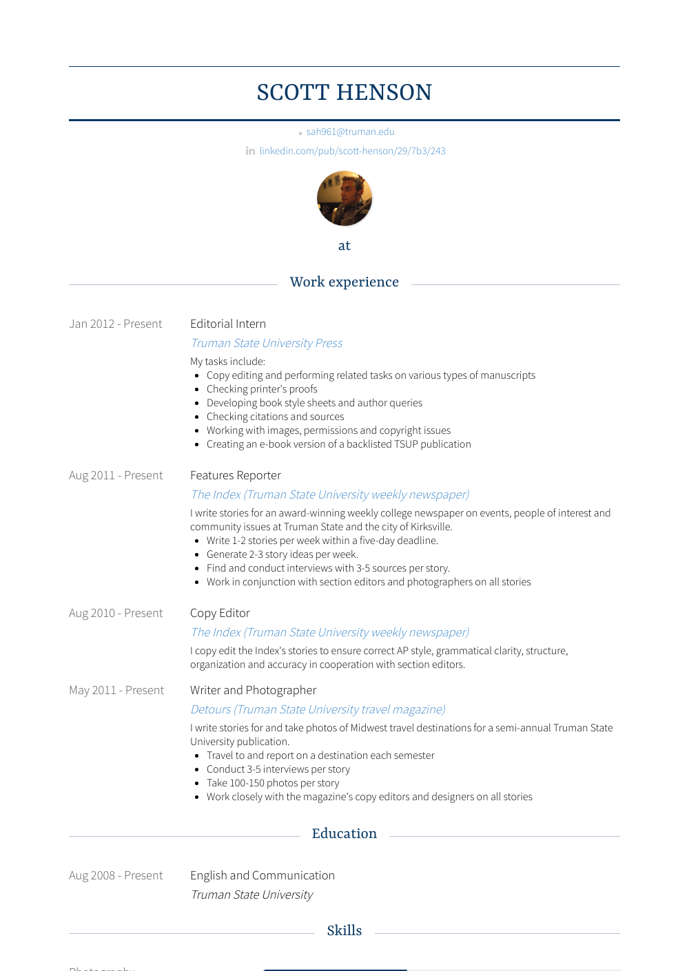 Editorial Intern - Resume Samples & Templates | VisualCV